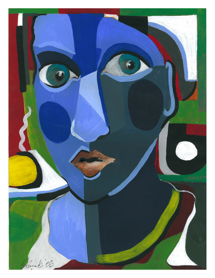 """MOROCCAN  GIRL"" - An Original Cubist Gouache by ""MOLOCH"" [ B. Colomb, cf. BENEZIT]. Price on Application"