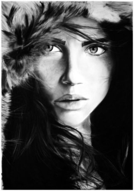 """EXQUISITE BEAUTY"" [ANNA SPECKHART - Original Charcoal Drawing by JOE MALLENDER"