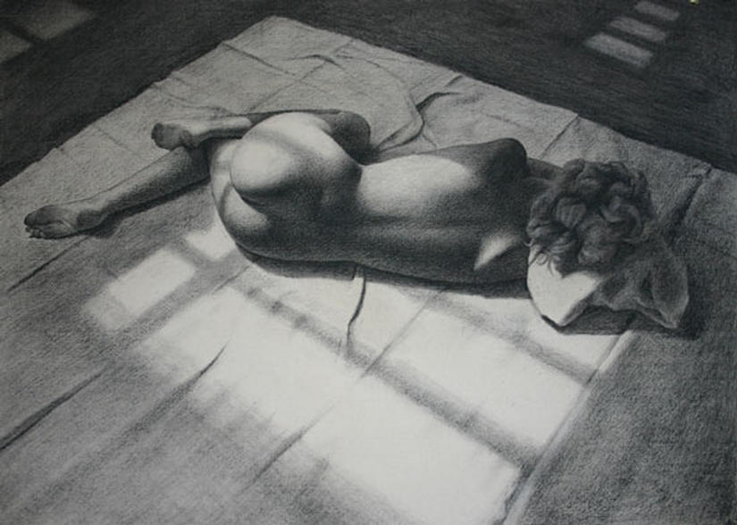"""A Hot Night in August"" - an ORIGINAL CHARCOAL DRAWING by Mark CLARK"