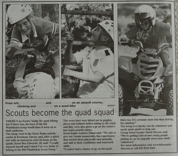 8th Wimbledon Scouts - Quad biking (Wimbledon Post report)