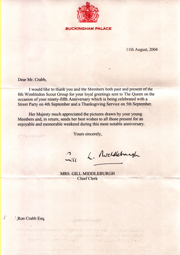 Message of congratulations from HM the Queen to the 8th Wimbledon Scout Group, on the occasion of its 95th anniversary.