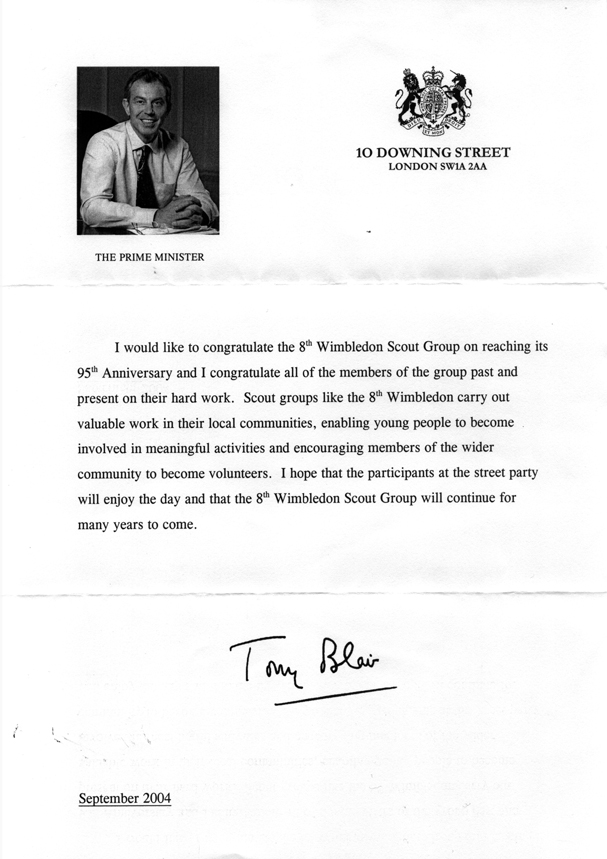 Message of congratulations from Prime Minister Tony Blair to the 8th Wimbledon Scout Group, on the occasion of its 95th anniversary