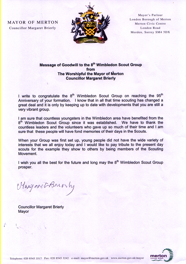 Message of congratulations from Mayor of Merton to the 8th Wimbledon Scout Group, on the occasion of its 95th anniversary