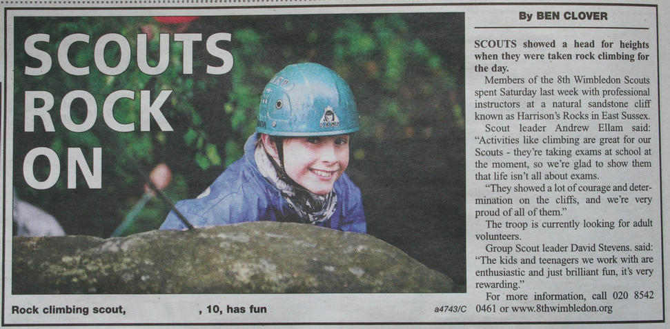 8th Wimbledon Scouts rock climbing
