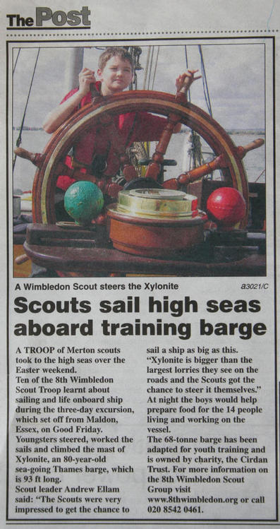 8th Wimbledon Scouts sailing the barge Xylonite