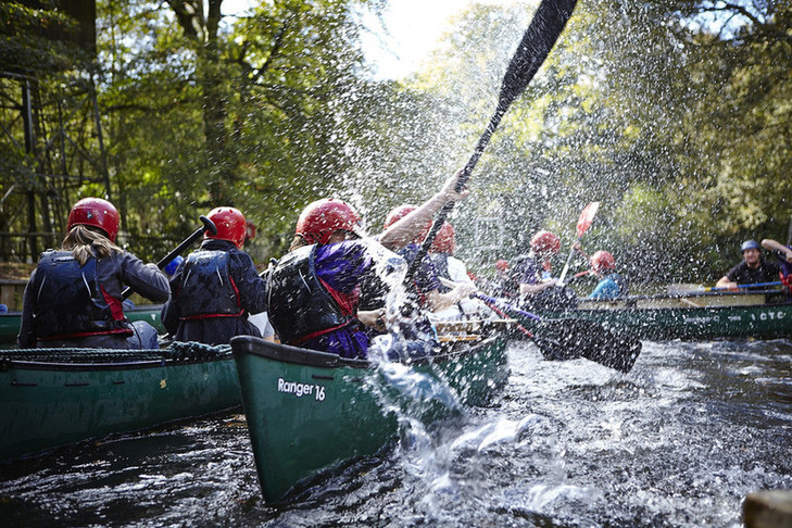 Scouts in canoes