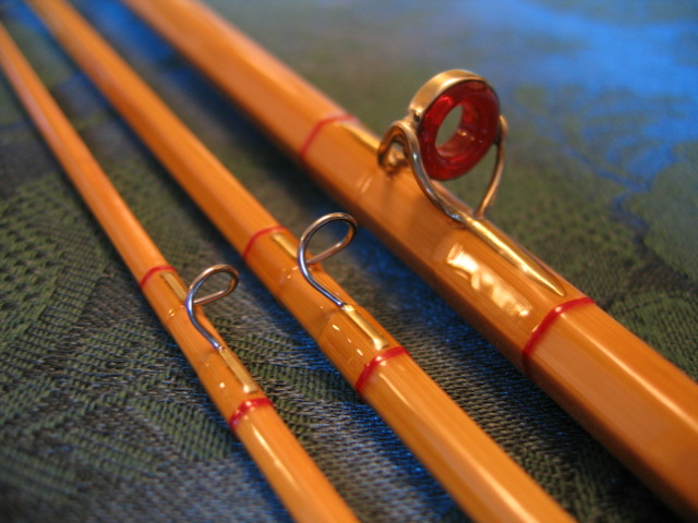 3 piece blond tip action rod with transparent whippings tipped scarlet.