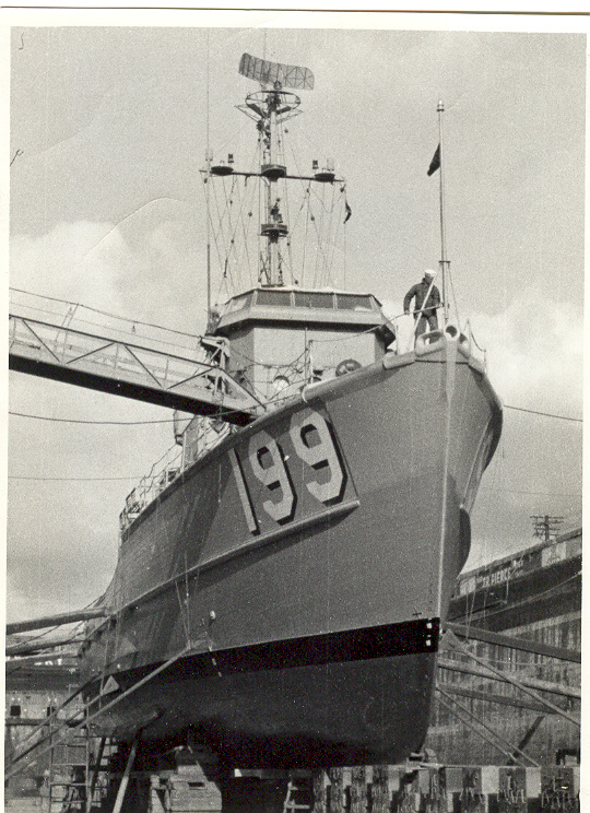 USS PHOEBE IN DRY DOCK