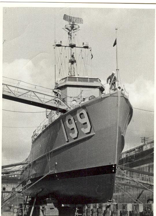 USS PHOEBE IN DRY DOCK