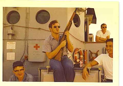 Dave Ellis, RM3 Gary Lambert, EM3, Larry Jarrell, Homer CS2