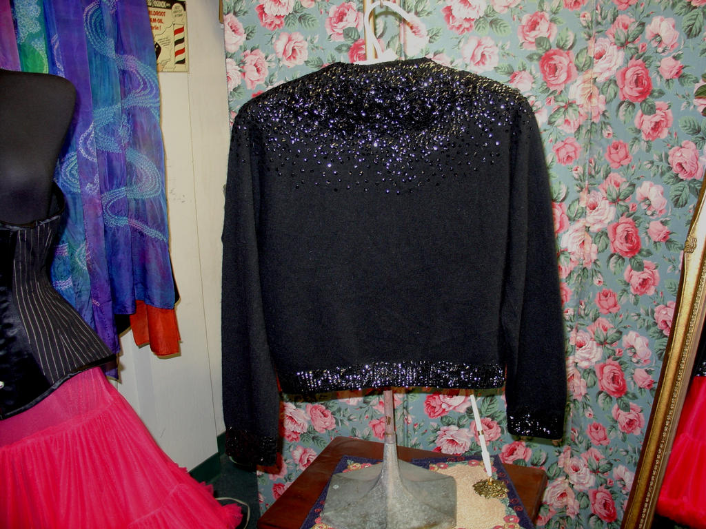 Black Sequined Cardigan Back View