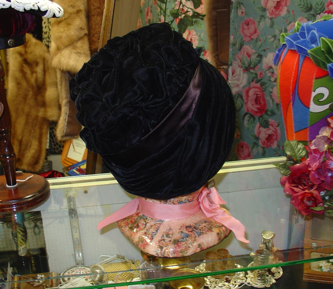 Black Velvet Rouched Cloche Back View