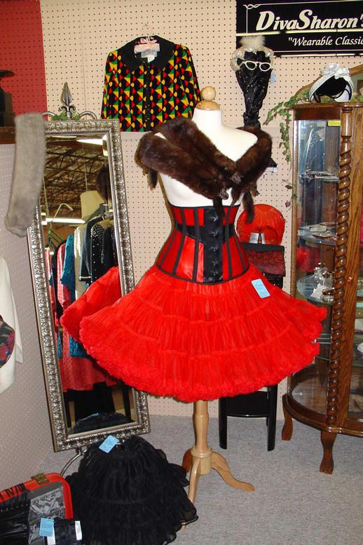 Red Corset and Crinoline