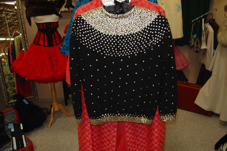 Black zip sweater gold sequins