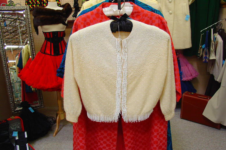 Ivory fringed beaded cardigan