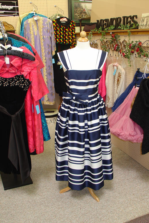 Navy/White Stripe Gown