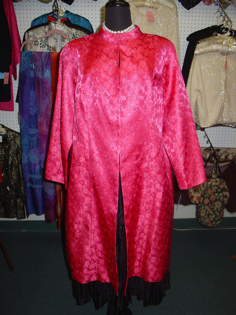 Hot Pink metallic brocade opera coat