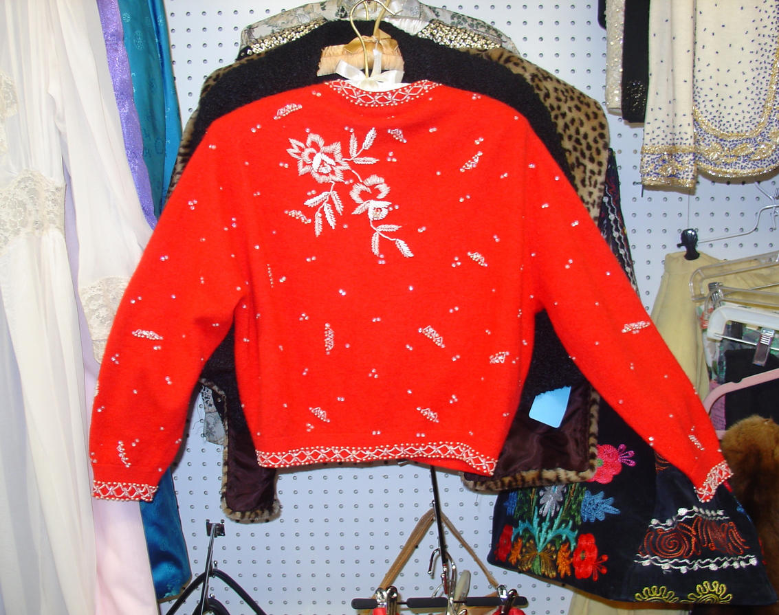 Red Beaded Cardigan Back View