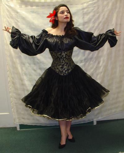 Stefanie in black crinoline corset