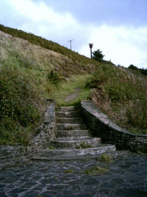 The path to the little church from the Beacon, Penrhys, Rhondda