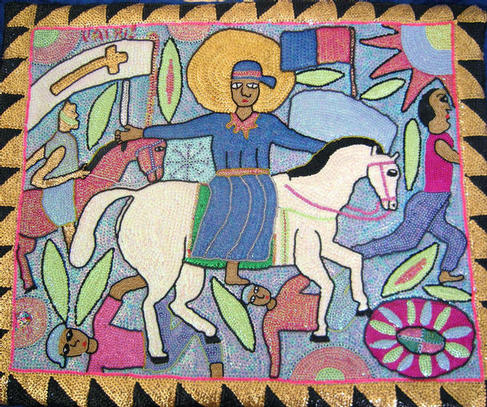 Haitian Vodou flag of St. Jacques by George Valris and wife