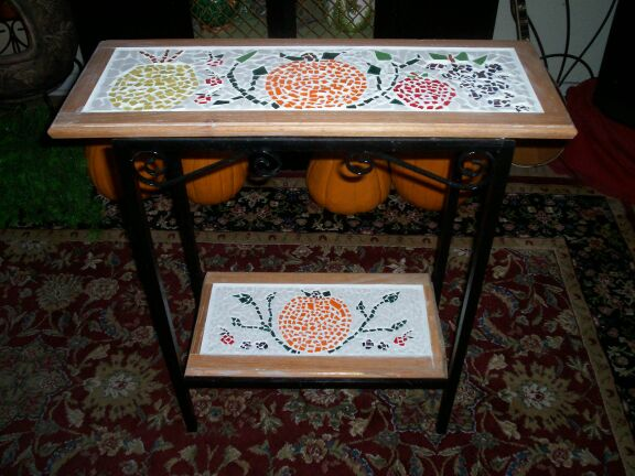 Two Tiered Wrought Iron Table Autumn Fruit