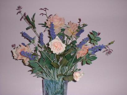 vase of rose & lavender flowers