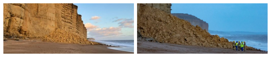 Large Cliff Fall at West Bay.