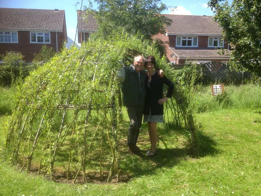 Living Willow Dome at Rumboldswhyke Infant School with Ganesh and Fiona The Headteacher