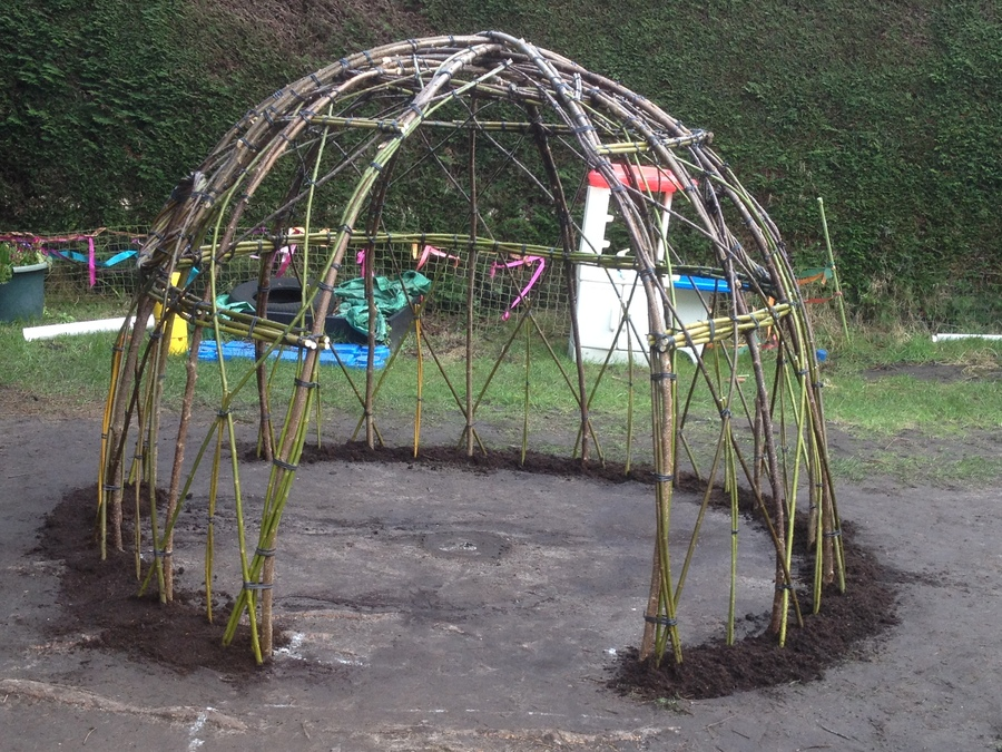 A small living willow dome planted at Ditchling Pre School earlier last week.