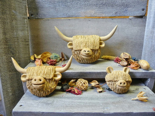 Set of cow heads