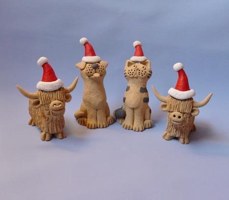 Santa Moggie, Mutt, Mini Morag & Mini Hamish