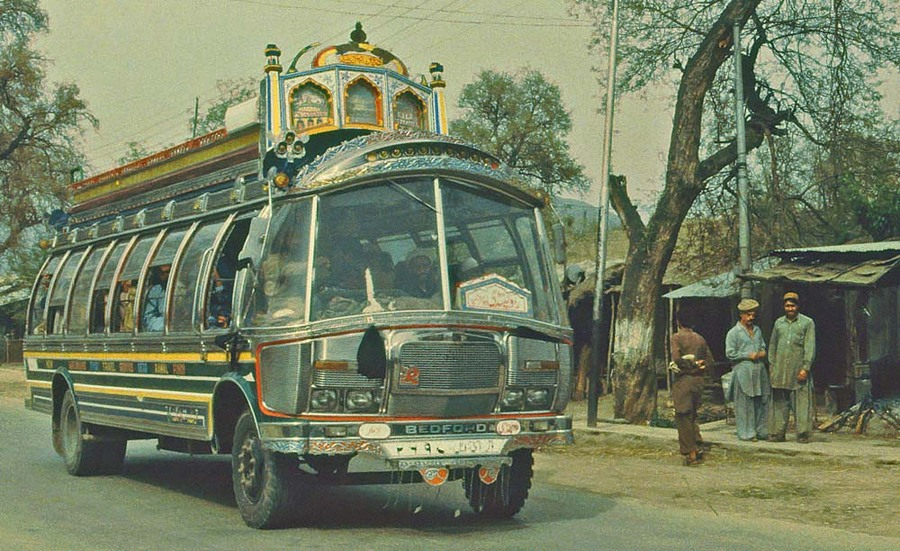 Pakistan: local bus in the Swat Valley