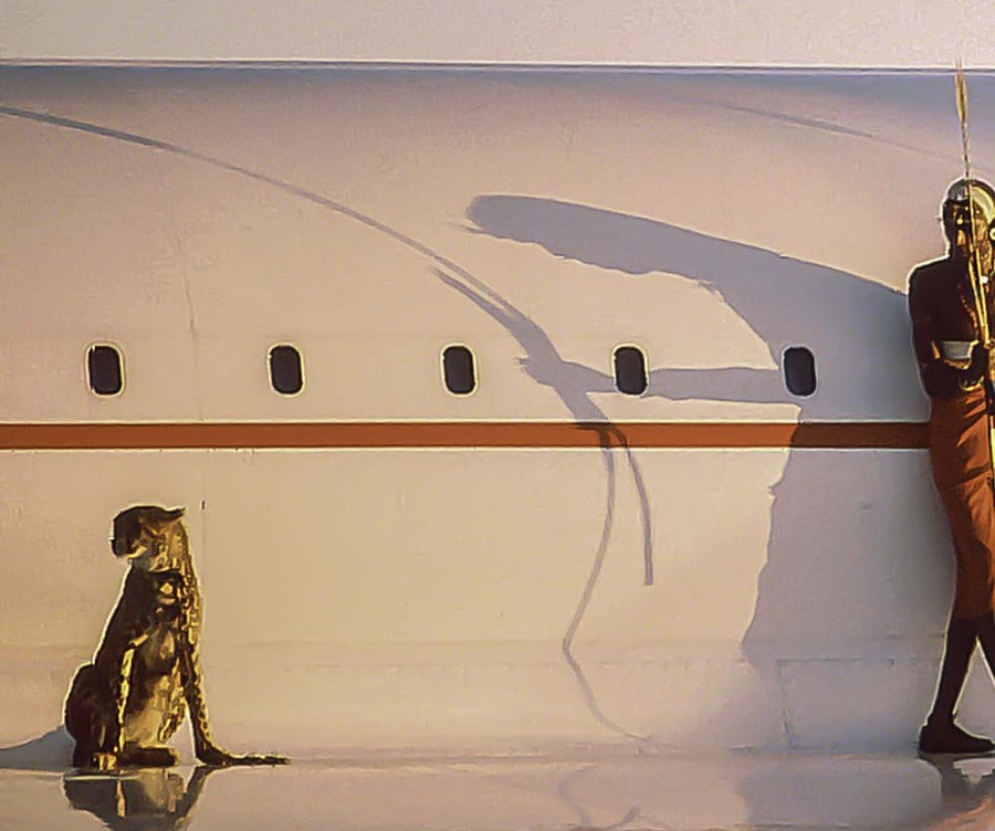 Concorde in Africa with Maasai and cheetah
