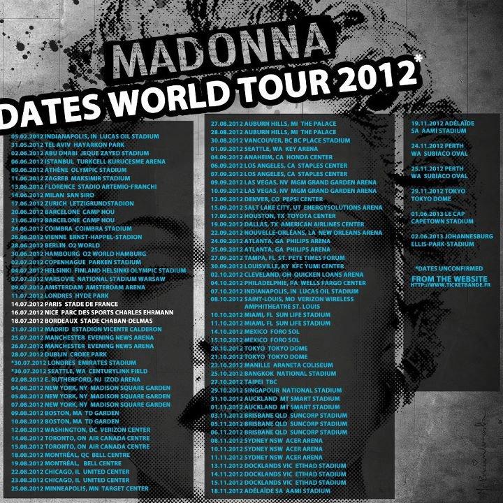 Madonna's 2012 Tour Schedule