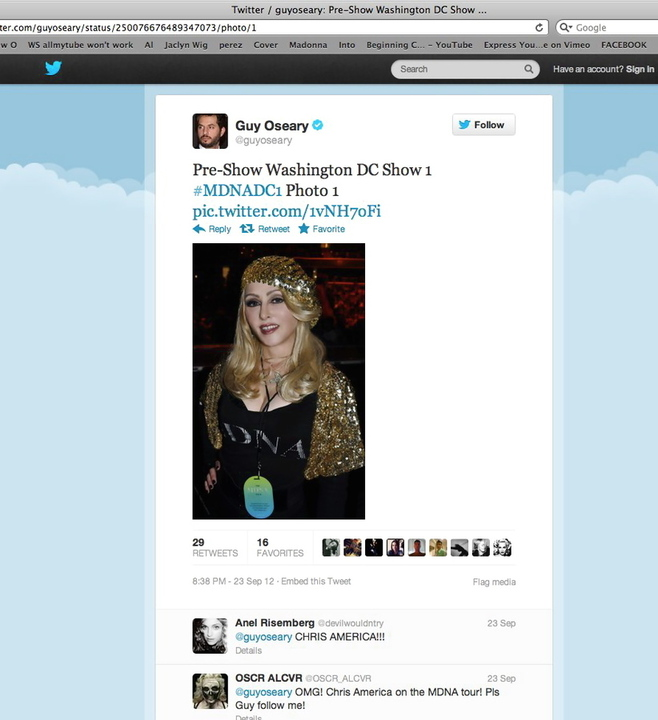 Chris America MAdonna Impersonator Guy Oseary Twitter
