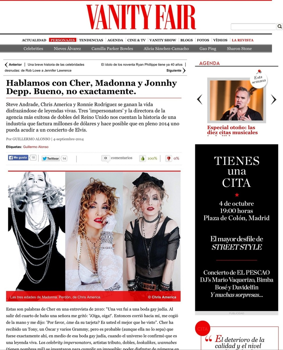 Madonna Madonna Impersonator Chris America VANITY FAIR MAGAZINE Steven Andrade Cher Ronnie Rodriguez Johnny Depp