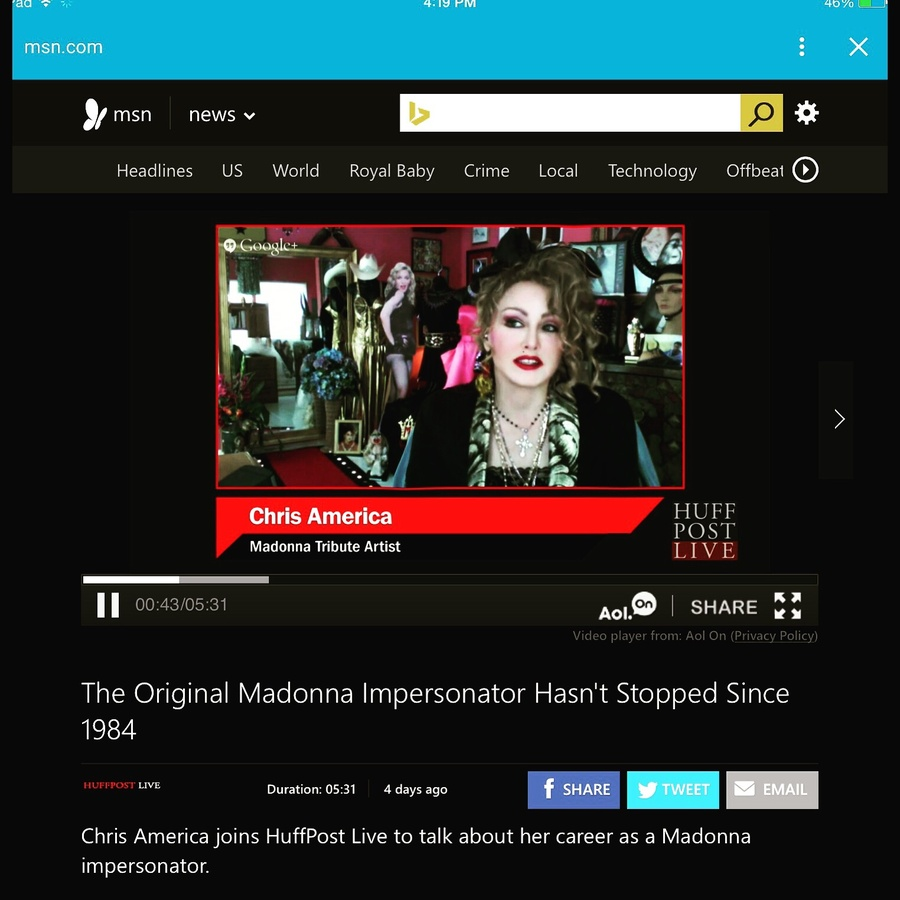 Madonna Impersonator Documentary Tribute Chris America Huffington Post interview Just About Famous Movie