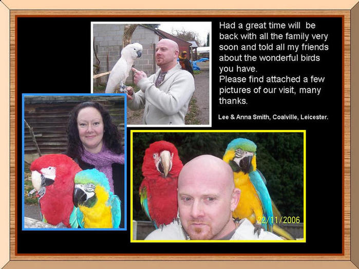 People with parrots.