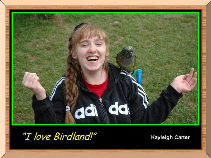 Kayleigh Carter with parrot on wheelchair.