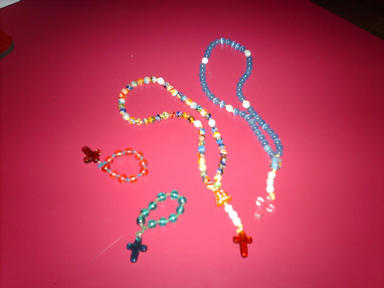 A sample our our home made rosaries. We make both wooden and glass beads rosaries and are happy to make one to your special requirements!