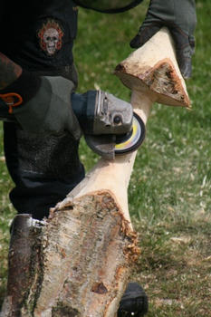 Grinding the wood
