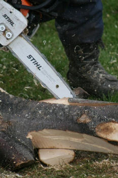 Cutting a groove with a chain saw