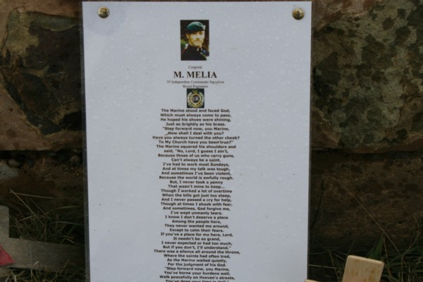 Memorial to Cpl M. Melia of 59 Ind Cdo R.E.