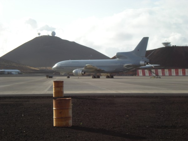 Tristar freighter on the pan on Ascension Island