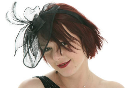 Head with Black Lace & Feather hat