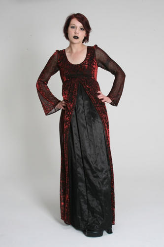 Red/Black Satin & Velvet dress
