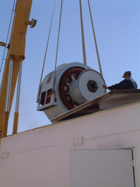 Being lifted into Engine Container