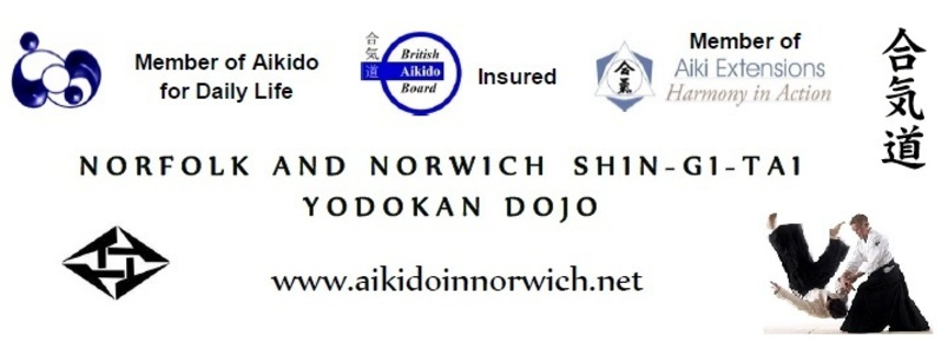 Dojo banner including name, BAB insured, member of ADL and Aiki Extensions
