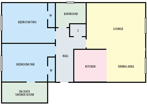 Wellgreen gate 2 bed flats for rent weekly let stirling fk8 for Self contained house plans